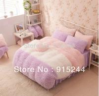 Winter warm super soft purple pink white camel color thermal flannel piece set coral fleece bedding 4pcs set King queen size