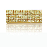 Free Shipping  New Designer ladies leather crystal diamante rhinestone gold evening clutch bag handbag purse