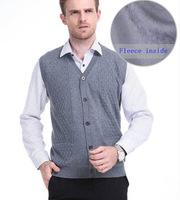 2013 men's clothing male cashmere wool sweater cardigan vest and waistcoat plus velvet thickening vest plus size casual men
