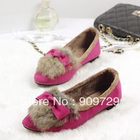 2014 rabbit fur autumn women's plus velvet flat shoes bow pointed toe women fur shoes free shipping