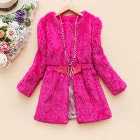 Free shipping 2014 winter women's o-neck medium-long belt fur coat