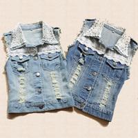 New Women Lady  Fashion Denim Vest Girl Lace Decoration Sleeveless Denim Tops Blouse