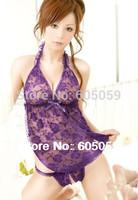Purple Lace Flowers Open Crotch underwear nightdress women sexy lingerie women Sleepwear cloth G string Set ul487