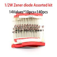 1/2W Zener diode Assorted kit 3.3V-30V 0.5W Zener diode Sample kit 14Values*10pcs=140pcs