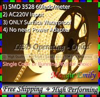 300leds 5M Yellow/Warm White/Pure White/Red/Green/Blue & RGB led strip 220V 60pcs leds SMD 3528 strip led lamp (Plug-and-play!)