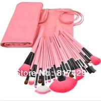 High quality 24pcs Professional Makeup Brushes Set Cosmetic Make up Brush Kit  Pink Makeup Tool +Pink Leather Case free shipping