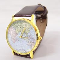 Wholesale New Arrive High Quality Fashion Map Dial Leather strap watches Women ladies Dress Quartz Wrist Watch