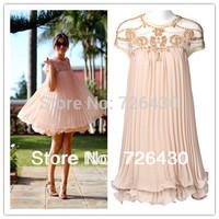 Free Shipping New Elegant Casual Organza Women Dress Lining Princess Pleated Chiffon Summer Fashion Dress for Party