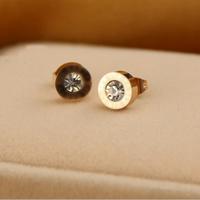 Fashion brand elegant sparkling imitated diamond crystal stud earring titanium 18k gold plated earrings women acessorios bijoux