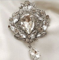 "4"" Elegant Silver Plated Large Clear Rhinestone Crystal Water Drop Bridal Jewelry Pin Brooch"