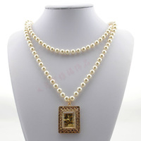 New Fashion Design Long  Pearl Necklaces With Gold Pendant Jewelry Items 2013 Women Free Shipping High Quality Accessories