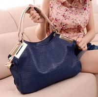 fashionable women handbag vintage crocodile pattern genuine leather one shoulder pu bag messenger bag new 2014 free shipping