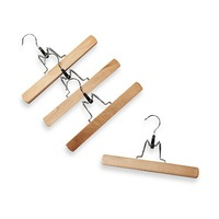 [Free shipping] Natural Wood 11-Inch Trouser Hangers with Clamps  (8 pieces/ lot)