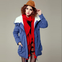 New 2013 winter Women's cotton wadded down jacket outerwear plus size berber Fleece lady Parkas XS,S,M,L Free Shipping