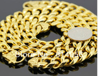 """FREE SHIPPING STAINLESS STEEL FASHION 2013 MEN CHAIN  GOLD Byzantine  NECKLACE(30""""x 15mm)BRACELET 22CMx15MM"""