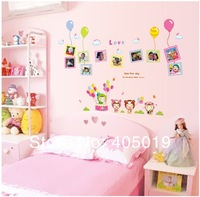 "Super Cute 120x86cm (47""x34"") AY7089 Cartoon Nursery Decor 1set=10pcs Photo Frame Sticker Bday Gift SGS Removable PVC Mixable"