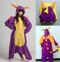 Free Shipping Animal Romper Mens Ladies Fleece Suits Onsie Fancy Dress Costume Onesie Pajamas *Purple Dragon
