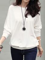 Women's T-shirts Plus Size Loose Bat Sleeve Tops female Blakc White Tshirts for Woman Ladies Spring Autumn T Shirts  J0685