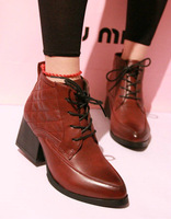 2013 autumn and winter high-heeled boots with thick lace pointed female shoes