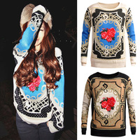 New Fashion Womens Elegant Baroque Style Palace Pattern Vintage Pullovers Casual Slim Basic Sweater