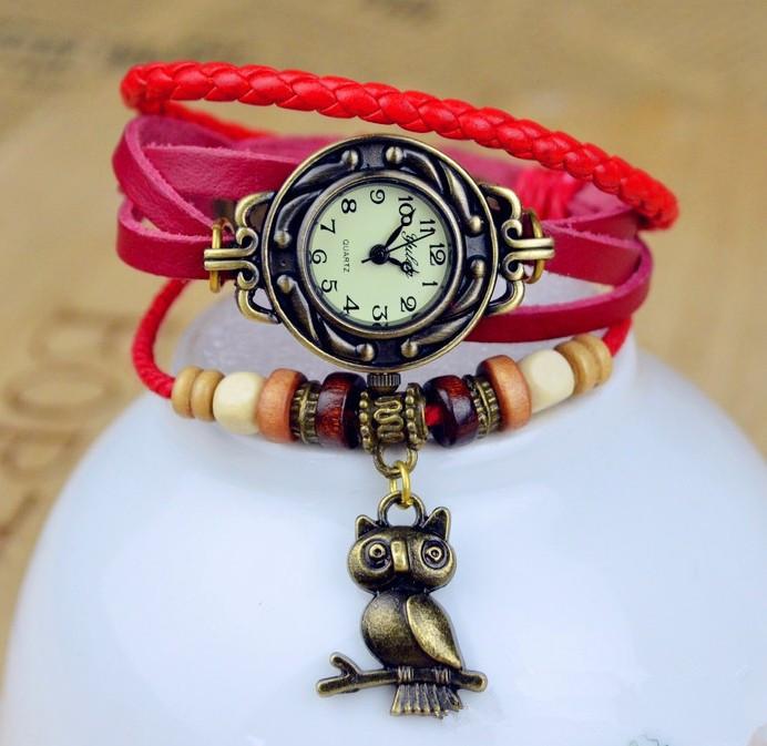 Fashion Genuine Cow Leather Strap Watch With Owl Pendant Women Ladies Dress Quartz Wrist Watch kow052(China (Mainland))