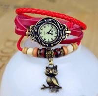 Hot Sale 2014 Genuine Cow Leather Strap Watch With Owl Pendant Women Ladies Fashion Dress Quartz Wrist Watch kow052