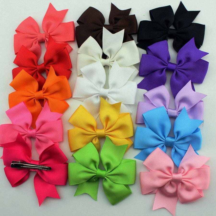 40pcs baby girl hair bows clips Boutique hair pin grosgrain ribbon bows hairpins kids girl hair accessories(China (Mainland))