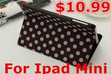 For ipad mini smart case, Dot Pattern Flip PU Leather Stand Case for Apple IPad mini Free/ Drop Shipping(China (Mainland))