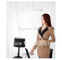 Hot Sale 2014 New Fashion! Autumn and winter Ol plus size 6XL Women Career  Dress work wear Formal set  belt Professional Dress