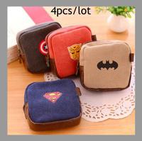 Free Shipping 4pcs/lot Fashion Superman Zipper Coin Purse Wallet Burse Cartoon Key Fabric Cotton Canvas Bag