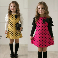 2014 new design retail Spring and Autumn cotton long-sleeved dress Girls Polka Dot Princess dot bow flounced Free Shipping