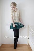 Women's Autumn/Winter Casual O-Neck Pullover Beige Geometric Eyelet Embellished Asymmetric Knit Jumper Sweater Loose Knitwear