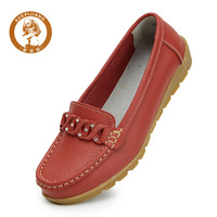 Wholesales 2pics/lot $5discount women genuine leather shoes all-match slip-resistant outsole mother cow muscle nurse women flats
