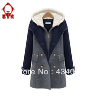 Fashion plus size winter clothing 2013 mm thickening thermal with a hood woolen faux two piece wadded jacket outerwear