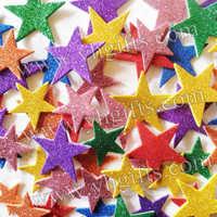 200PCS/LOT.Mixed size glitter star stickers,Foam adhesive stickers,Wall sticker,Kids room ornament.Spring crafts,Fridge sticker
