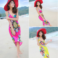 New 2014 Fashion Ladies Chiffon Halter Sundresses Summer Beach Dress Bohemian Floral Dress