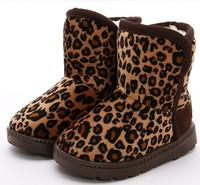 Fashion children's leopard short snow boots kids boy girl flat winter boots children's warm shoes of coffee