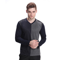 2014 new camiseta,men's long-sleeved T-shirt,men's casual fashion V-neck splicing winter dress t shirts,camisa,tops&tees