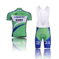 Hot sale!2014 LIQUIGAS green Cycling Jersey short sleeve bib pants/pants Quick Dry Breathable Cycling Clothing AF XS-4XL GEL PAD