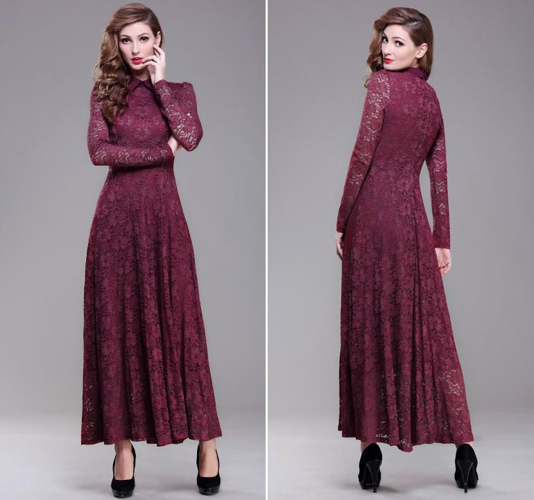 New-arrival-Women-lace-full-dress-fashion-plus-size-lace-cutout