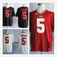 NCAA Florida State Seminoles(FSU)Jameis Winston #5 red black white 2014 bcs College Football Jerseys Embroidery logos,size 48-56
