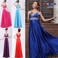 2015 new fashion Bride paillette V-Neck blue formal dress double-shoulder long bridal evening dress 10 colors