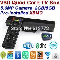 Free Remote Control Sunvell V3ii RK3188 Android TV Box Quad Core 2GB RAM 8GB ROM MINI PC 5.0MP Camera MIC Bluetooth WIFI DLNA