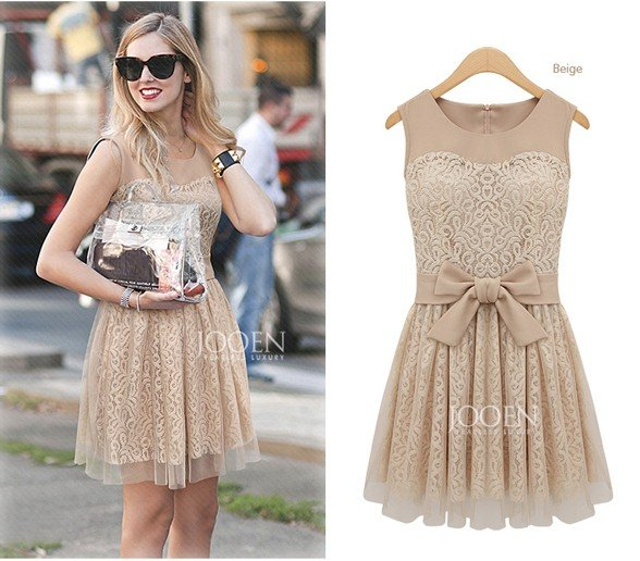QZ80 new fashion Women Lace Mesh Legging Bow Slim Pleated Accordion Dress Knee-Length Cute Short Novelty vintage party evening(China (Mainland))