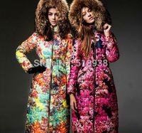 2014 winter new in luxury x-long women brand raccoon fur hooded floral print down coats female slim parkas warm sexy outerwear