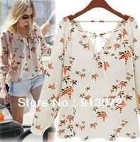 ST515 New Fashion Ladies' elegant floral print blouse V-neck casual vintage shirt slim high quality brand designer tops
