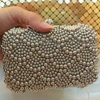 Free Shipping 2014 Women bag Pearl Clutch Silver Chain Crystal Evening Bag Party Wedding Handbag Purse