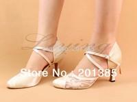 Free Shipping Ivory Closed Toe Wedding Dance Shoe Ballroom Salsa Latin Waltz Smooth Dancing Shoes Size 34,35,36,37,38,39,40,41