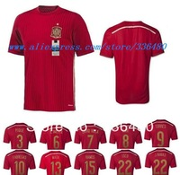New arrival 13/14 season spain fans version home red best quality soccer jersey,Embroidery logo, spain National team jersey