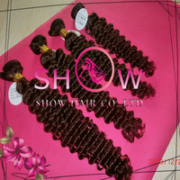 Show queen hair products,#4 color deep wave brazilian hair 3 Bundles / Lot Unprocessed Weave Queen Hair Products Human Extension